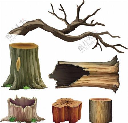 卡通大树树桩矢量图图片