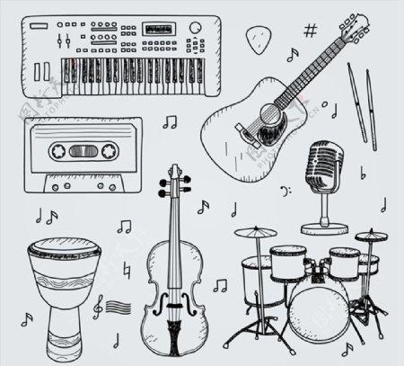 手绘乐器设计图片