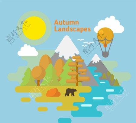 秋季雪山自然风景图片