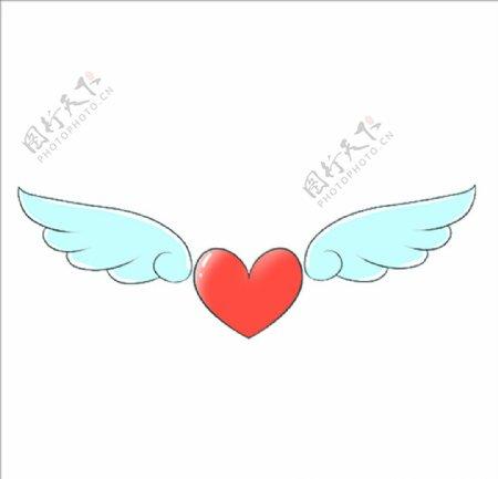 桃心带翅膀的心图片