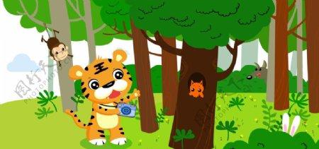 森林中老虎图片
