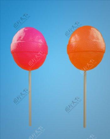C4D模型水果味棒棒糖图片