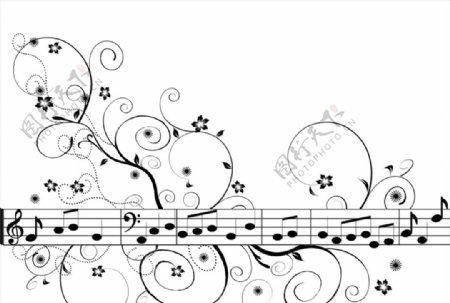 音符音乐花图片