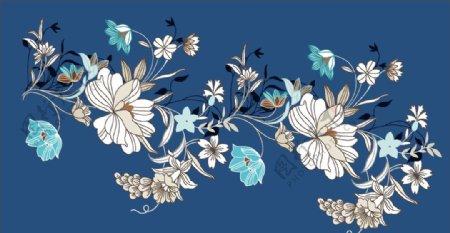 蓝色线条花图片