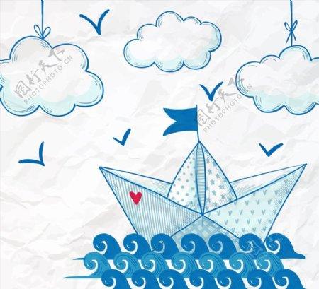 航海帆船矢量图片