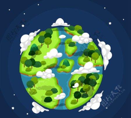 树木覆盖的地球图片