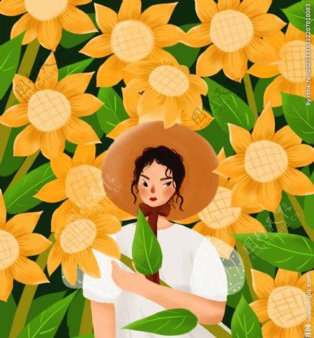 向日葵园里的带帽姑娘插画图片