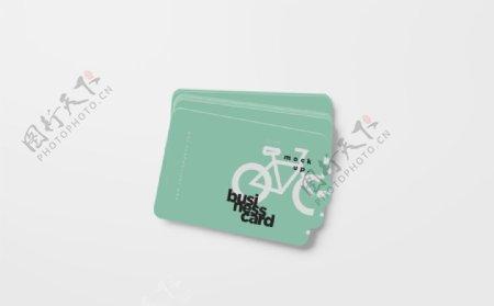 绿色名片卡片工牌高档样机图片