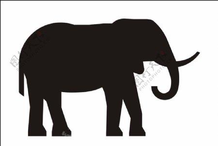 大象剪影图片