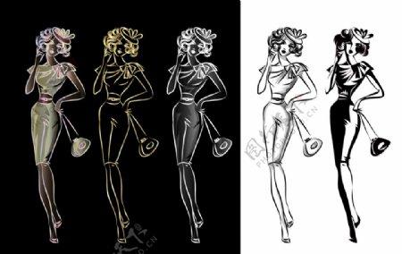 女性服装设计手绘图片
