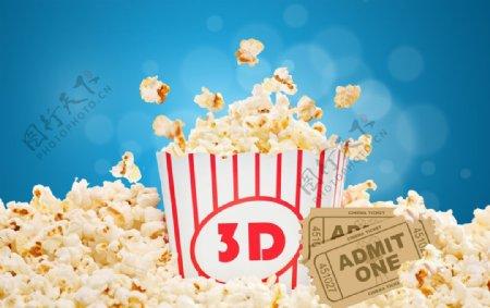 白色条纹桶里电影院爆米花图片