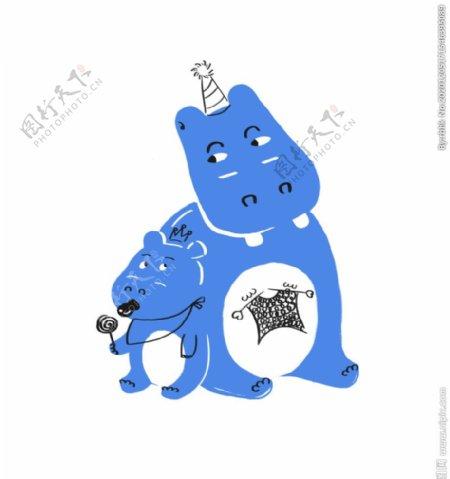 蓝色河马带生日帽吃棒棒糖图片