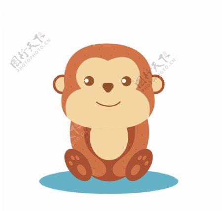 可爱坐着的猴子插画图片