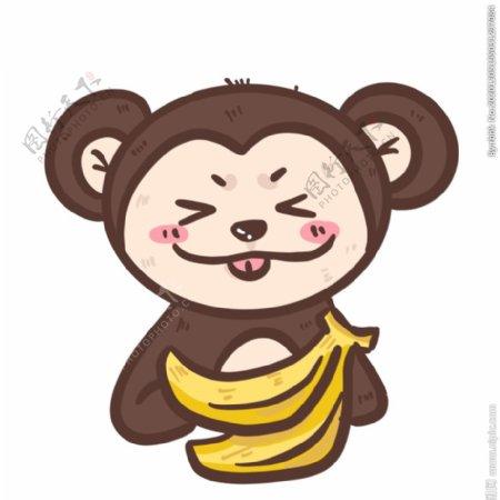 手绘卡通猴子大嘴猴动物元素图片