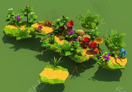 C4D模型低面体植物豌豆图片