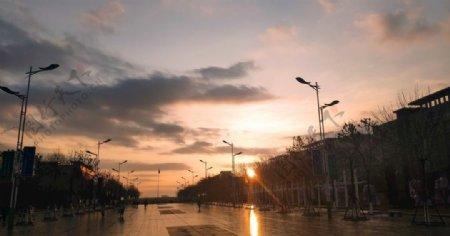 山东商务早上的太阳图片