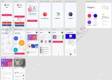 xd社交红色UI设计登录页注册图片