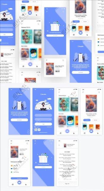xd书籍电商蓝色UI设计引导页图片