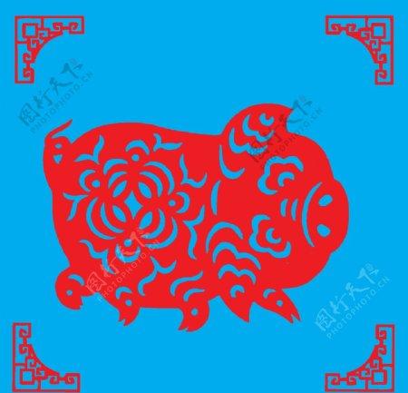 猪剪纸图片