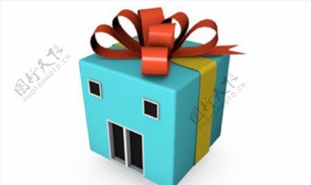 C4D模型礼物形状的房子图片