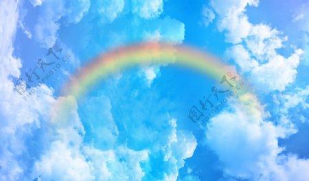 蓝天白云彩虹图片