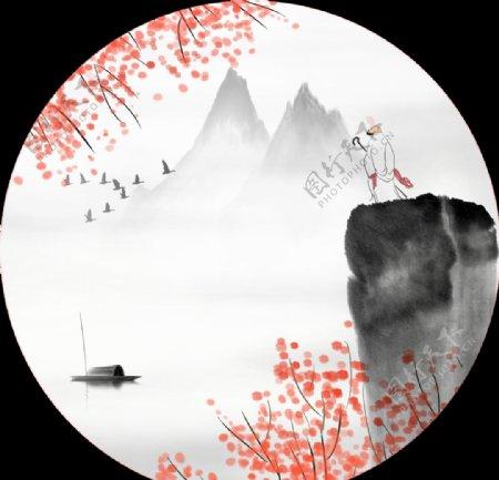 新中式圆形装饰画图片