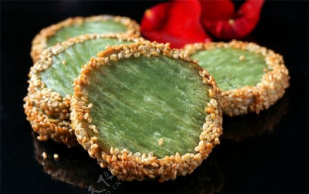 主食绿茶佛饼图片