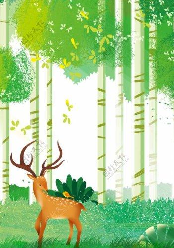 森林梅花鹿插画图片