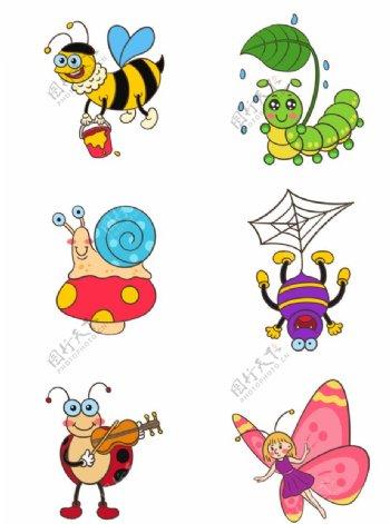 卡通蜗牛卡通毛毛虫卡通蝴蝶图片