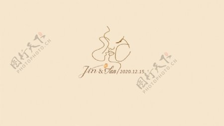 线条人像婚礼logo背景图片