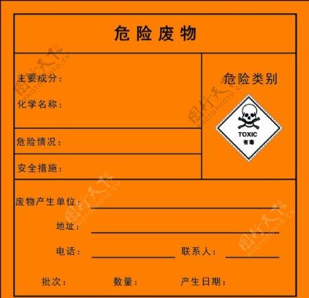 危险废物标签图片