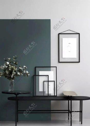 蓝灰色墙纸图片