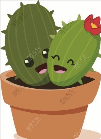 卡通仙人掌盆栽图片