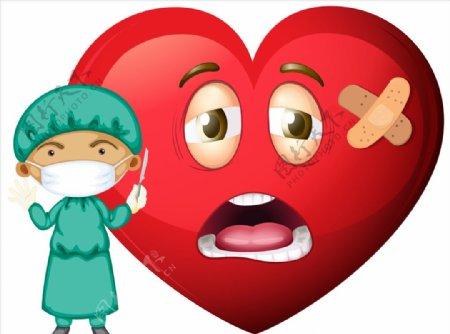卡通医生和爱心表情图片