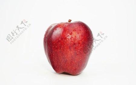 白色底板上的红色苹果拍摄素材图片
