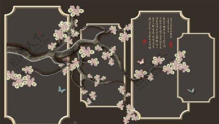 手绘画鸟框框背景墙图片
