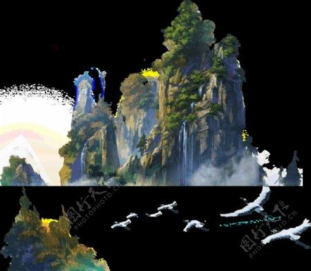 山峰青山鸟古风场景图片