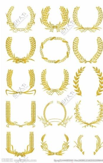 麦穗橄榄枝矢量素材图片