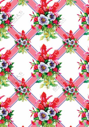 格子花朵图片