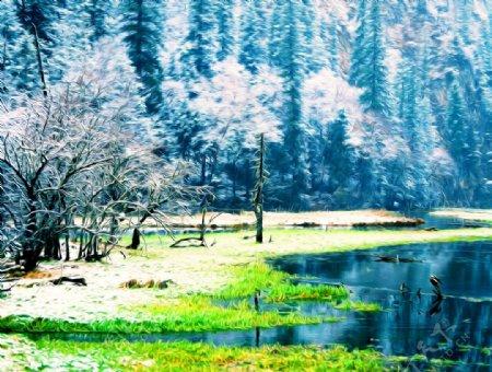 冬雪山水风景油画图片