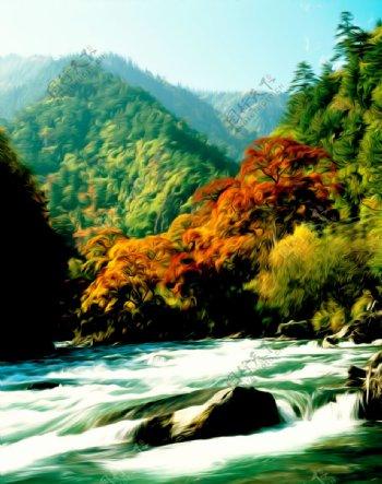 山水风景油画岩石树阴秋图片