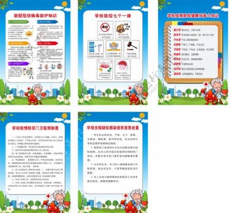 校园新型冠状病毒防护知识展板图片