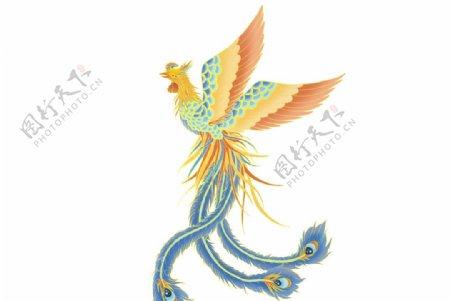 国潮动物凤凰鎏金元素图片