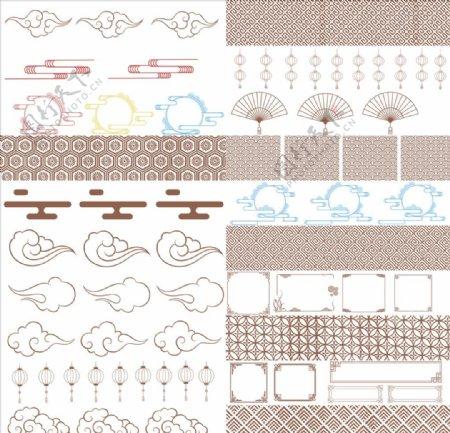 五十种中国风底纹边框笔刷图片