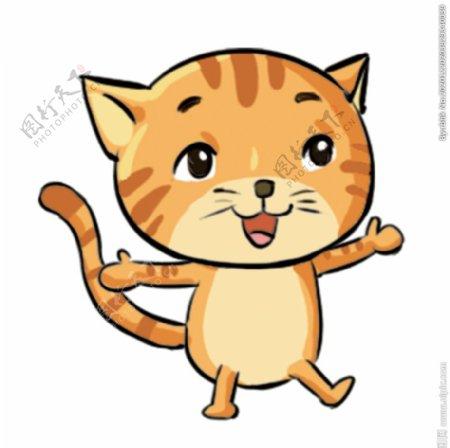 跳舞的黄色小猫图片
