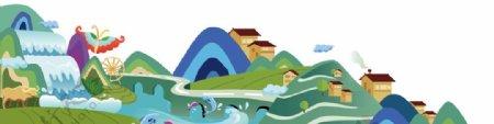 贵州山水插画图片