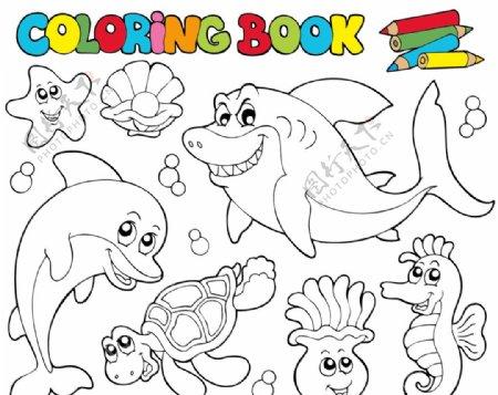 海底卡通简笔画图片