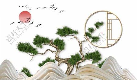 简约大气群山松树红日飞鸟背景墙图片