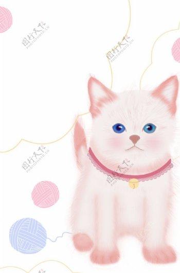 美丽猫咪插画图片