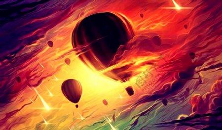 热气球油画图片